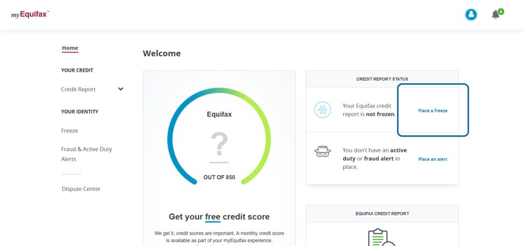 "myEquifax website account screen, highlighting the ""Place a freeze"" button to freeze your credit at the Equifax credit bureau"