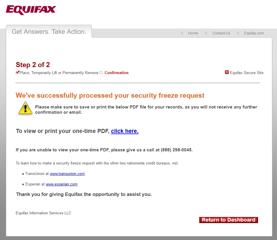 Equifax website freeze flow step two, confirmation of your security freeze, including PDF documentation to download