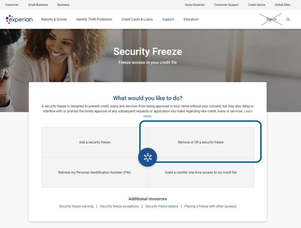 "Experian website ""Remove or lift a security freeze"" button, the first step to unfreeze your credit at Experian"