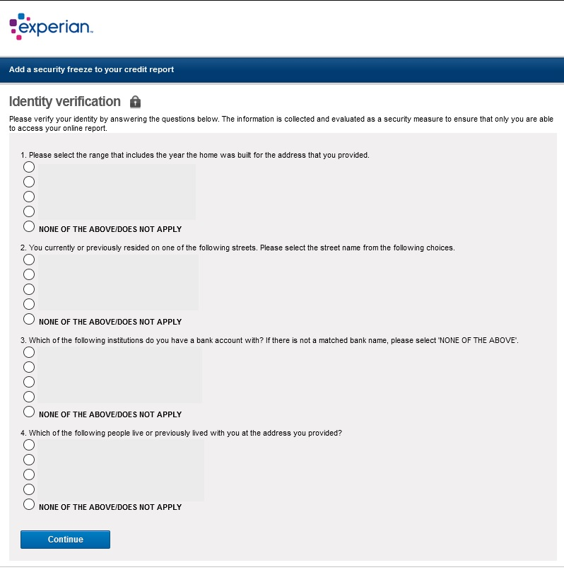 Experian website identity verification multiple choice quiz, to verify your identity