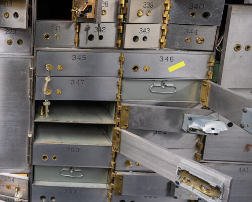 Open and breached bank safe deposit boxes