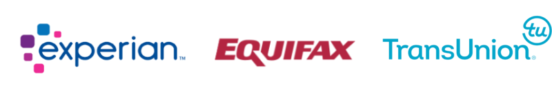 Company Logos of three US credit bureaus: Experian, Equifax, and TransUnion