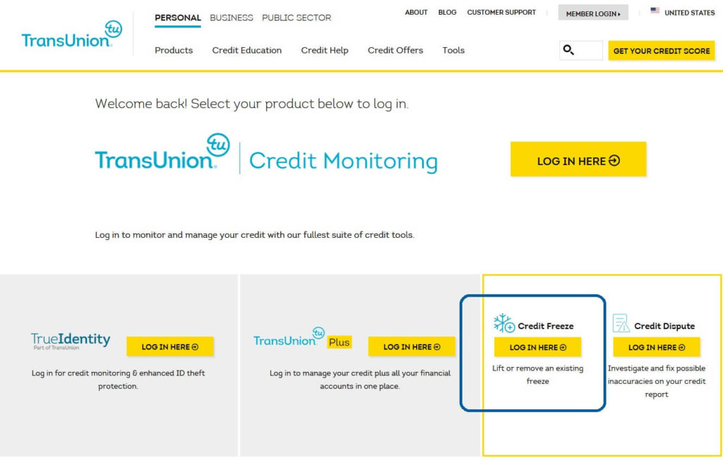 TransUnion website account types login page, highlighting the credit freeze account to freeze your credit at TransUnion