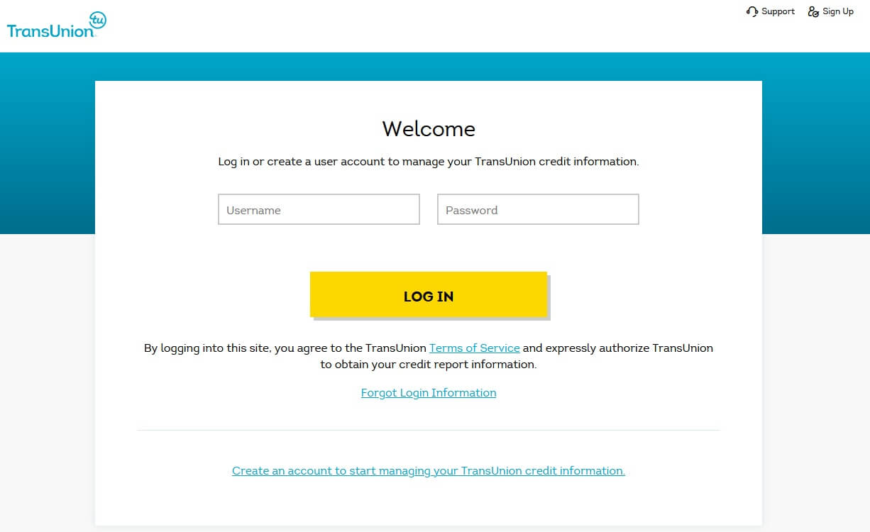 TransUnion account account login page, consumer portal to freeze your credit at the TransUnion credit bureau