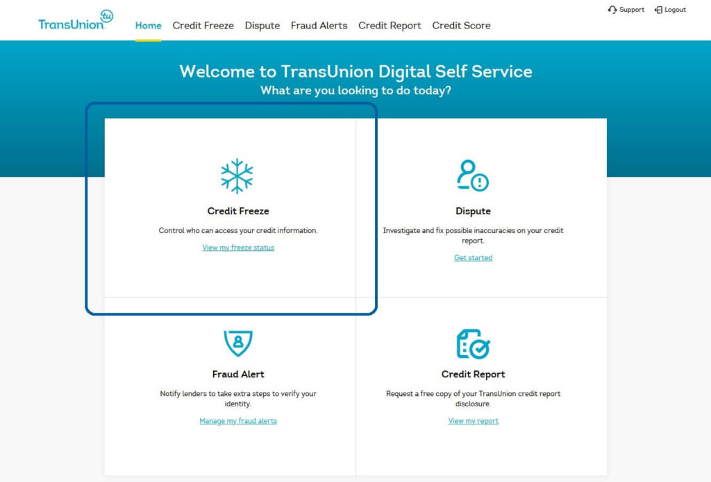 "TransUnion account homescreen, showing a link to ""View my freeze status"""
