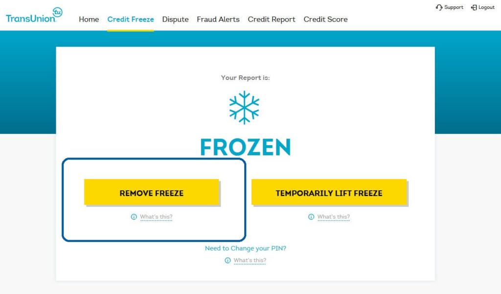 "TransUnion account ""Remove Freeze"" button, showing a yellow link to remove a security freeze and one to temporarily lift one"