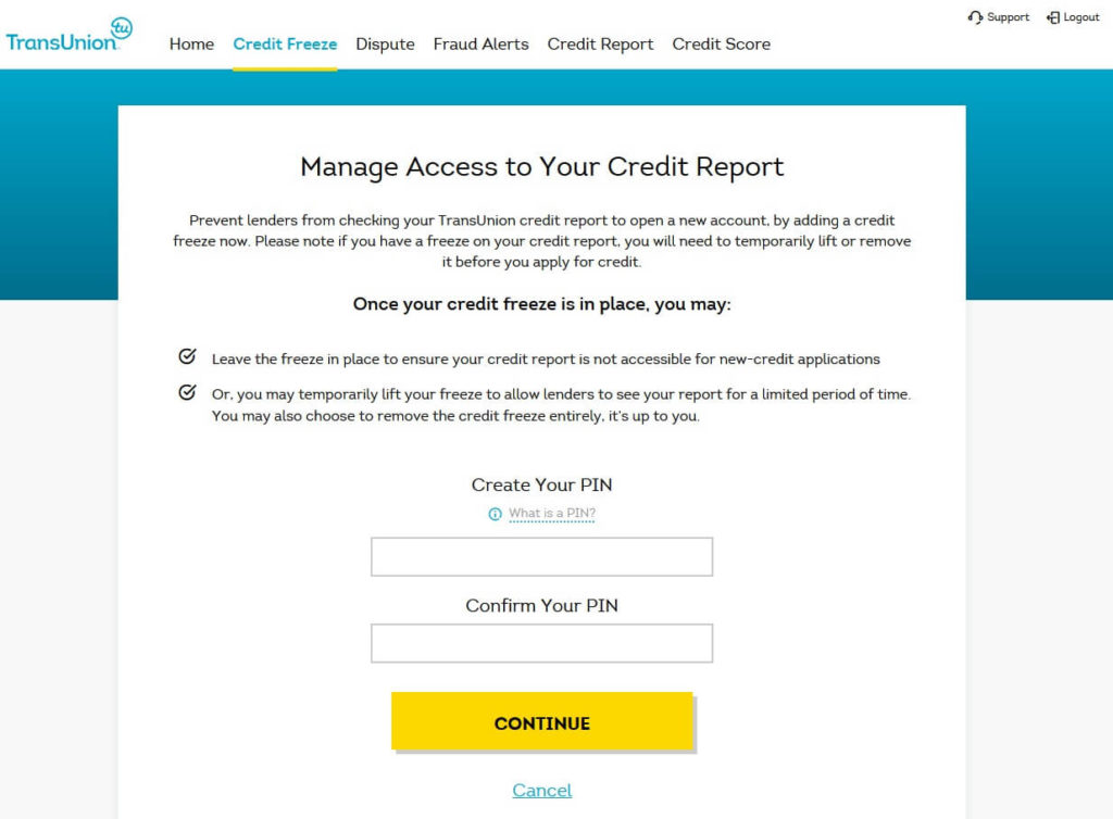 TransUnion account credit freeze step to create and confirm a PIN number, for using via phone or mail
