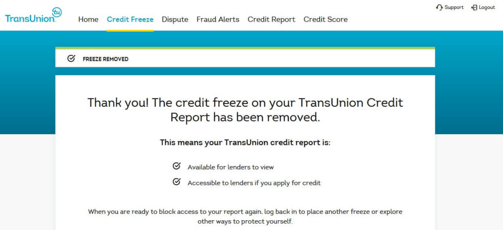 TransUnion account credit unfreeze confirmation page, confirming that your credit file at TransUnion is unfrozen