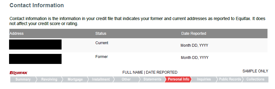 """Equifax's credit report contact information section for investigating the cause of the """"we are temporarily unable to complete this request"""" error message"""